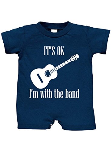It's OK I'm With The Band 100% Cotton Infant Baby Jersey Tee T-Romper Navy 6 Months (Band Jersey)