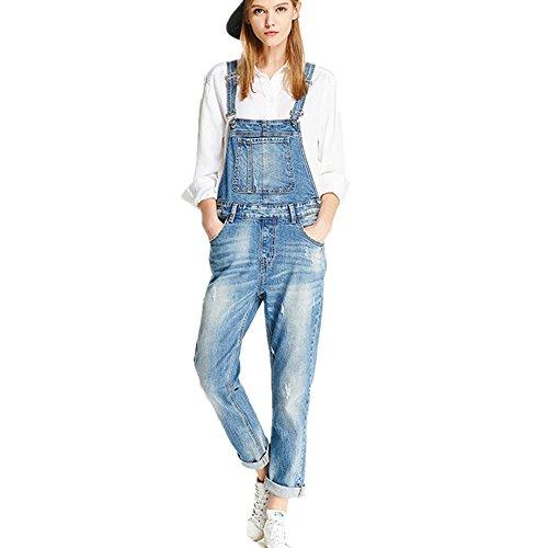 Women Clothing Blue Jeans Denim Overalls (M, Blue)