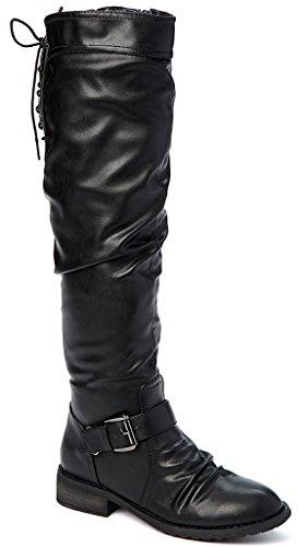 Bucco Kirkise Kvinna Mode Over-the-knee Rynkad Stövlar Svart