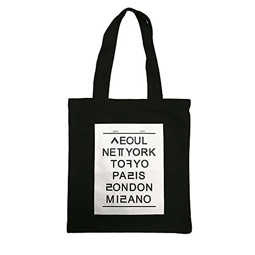 Printed Canvas Bags - ASAPS Black Printed Design Canvas Tote Bag with Handles (Capital)