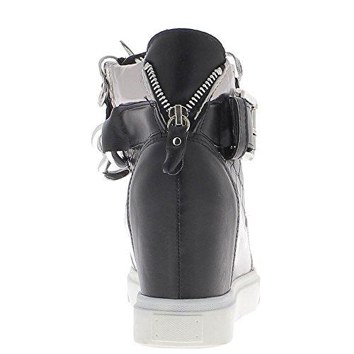 Baskets compensées montantes noires silver à talon de 8cm