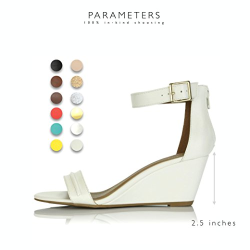 Pu Strap Heel Design Shoes Ankle Fashion Low DailyShoes White Platform Buckle Sandals Wedge Women's Summer Uqw4p16