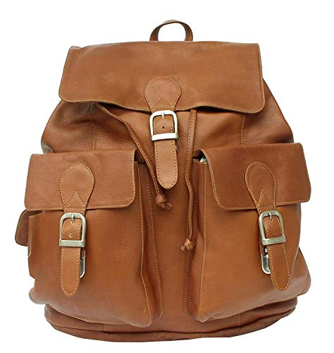 Piel Custom Personalized Leather Adventurer Large Buckle Flap Backpack in Saddle