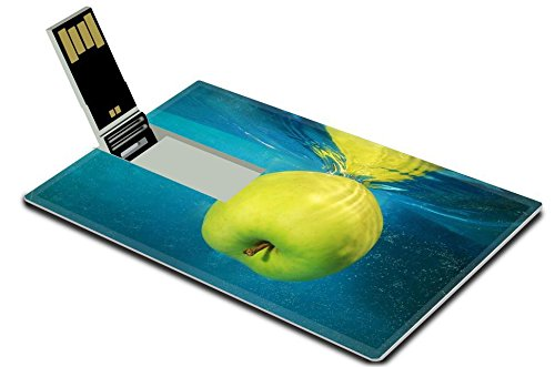 Luxlady 32GB USB Flash Drive 2.0 Memory Stick Credit Card Size apple in water on a blue background IMAGE 38431498