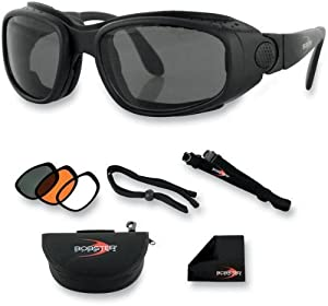 Bobster Eyewear BSSA001AC Sport and Street Convertible Sunglasses/Goggles, Primary Color: Black, Gender: Mens/Unisex