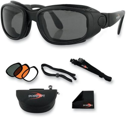 Street Smoked Lens Set (Bobster Sport and Street Convertible Sunglasses, Black Frame/3 Lenses (Smoked, Amber and Clear))