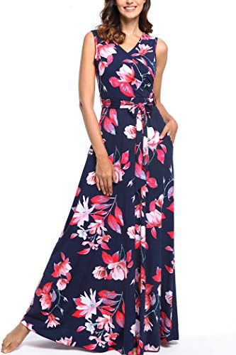 Comila Butterfly Maxi Dresses for Women, Spring Sleeveless Dresses Wrap Style Top with Pockets Classic Floral Slimming Comfortable Super Flattering Long Dress Dark Blue Red XL US(16/18)