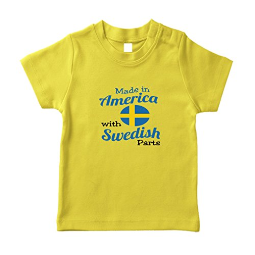 Cute Rascals Made In America With Swedish Parts Cotton Short Sleeve Crewneck Unisex Toddler T-Shirt Jersey - Yellow, 6 - Swedish Yellow In