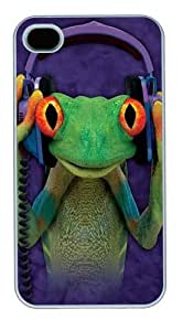 DJ Peace Frog PC Case Cover for iPhone 4 and iPhone 4s White