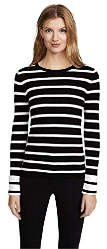 (Theory Womens Prosecco Striped Ribbed Knit Pullover Sweater Black-Ivory P)