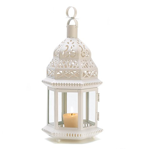 Gifts & Decor White Moroccan Style Hanging Candle Lantern ()