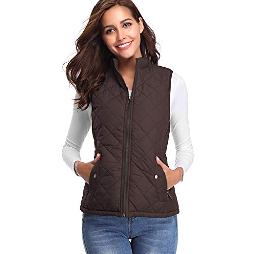 (Women Thick Warm Waistcoat Vest,Ladies Sleeveless Winter Jacke Coat (S, Coffee))