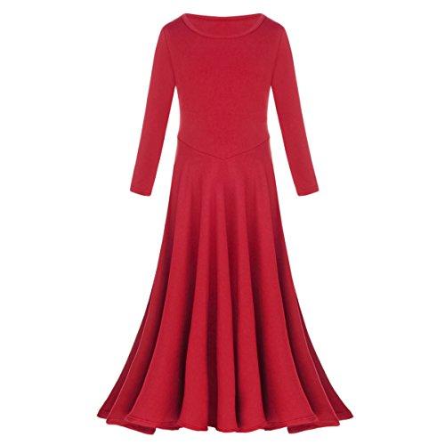 Little/Big Girls Long Sleeve Liturgical Praise Lyrical Dance Dress Loose Fit Full Length Dancewear Costume Ballet Praisewear Red 9-10 Years ()