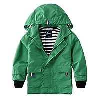 Hiheart Boys Waterproof Hooded Jackets Cotton Lined Rain Jackets Green 8/9
