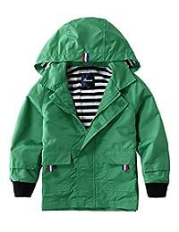 Hiheart Boys Girls Rain Waterproof Jacket Zip Hooded Jacket Outer Coat