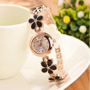 Domire Women Girl Chic Fashion Daisies Flower Rose Golden Bracelet Wrist Watches - Black
