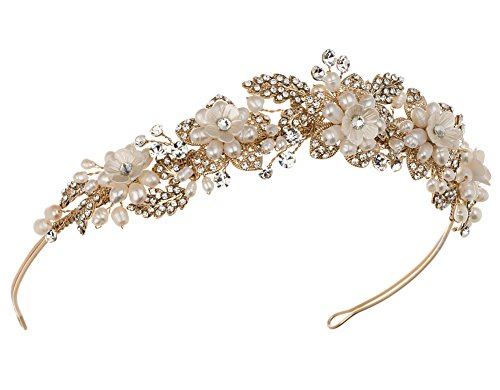 USABride Freshwater Pearl Floral and Leaf Gold-Plated Wedding Tiara 3250-G