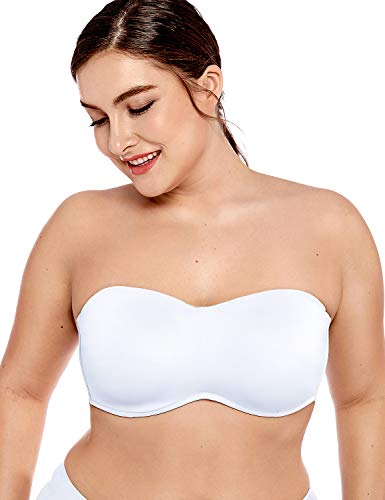DELIMIRA Women's Smooth Seamless Invisible Underwire Strapless Minimizer Bra White 32D