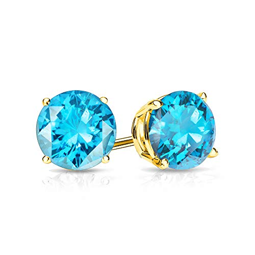 - 9mm Blue Topaz Stud Earrings in 14k Yellow Gold (5 CT.TW.)