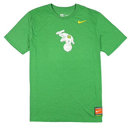 Throwback Tri Blend T-shirt - NIKE Men's Oakland Athletics Tri-Blend Cooperstown Logo T-Shirt Large Green