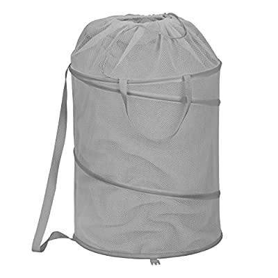 Honey-Can-Do HMP-06966 Pop-Up Hamper with Strap, Grey - Springs open instantly, folds flat for storage Long carrying handles, easy transport Spiral steel frame, maximum support - laundry-room, hampers-baskets, entryway-laundry-room - 414NJrr0PbL. SS400  -