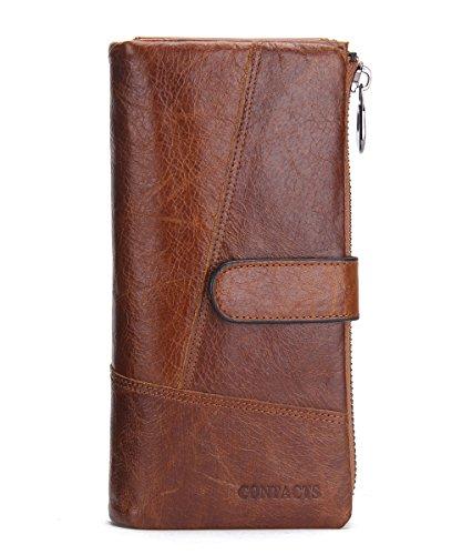 Contacts Men Genuine Leather Card Case Bifold Wallet Checkbook Organizer Brown