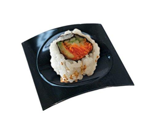 Zappy 100 Disposable Plastic Black Mini Square Appetizer Dessert Plates Disposable Hard Plastic Sushi Cupcake Pie Sample Plates Mini Party Trays ( Black ) Black Sushi Tray