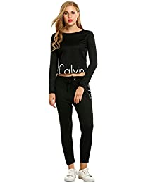 etuoji Women Causal Tracksuit Set Long Sleeve Top and Loose Pants Sportswear