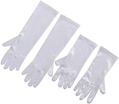 Utopiat Audrey estilo blanco satinado opera guantes para niñas ...