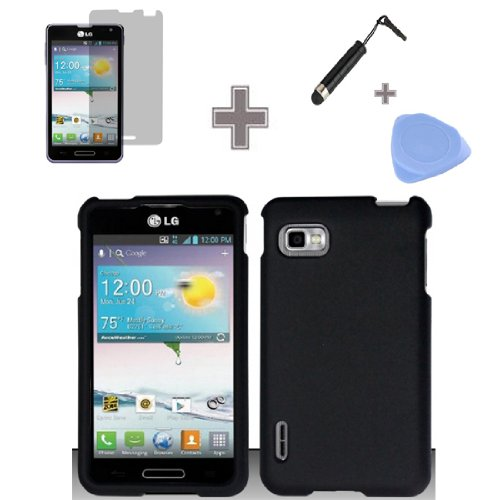 Zizo-TM-Rubberized-Solid-Black-Snap-on-Hard-Case-Skin-Cover-Faceplate-with-Screen-Protector-Case-Opener-and-Stylus-Pen-for-LG-Optimus-F3-LS720-MS659-Sprint-MetroPCS-T-Mobile