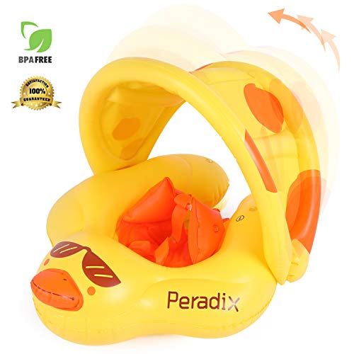 Peradix Inflatable Baby Swimming Float Ring Children Waist Float Ring Inflatable Floats Pool Toys Swimming Pool Accessories for The Age of 3-36 Months (Yellow Duck)