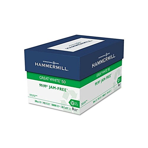 Hammermill 86780 Great White 50 Recycled Copy Paper, 20-lb, 8-1/2 x 11, White, ()