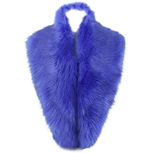 Dikoaina Extra Large Women's Faux Fur Collar for Winter Coat (120cm, Blue)