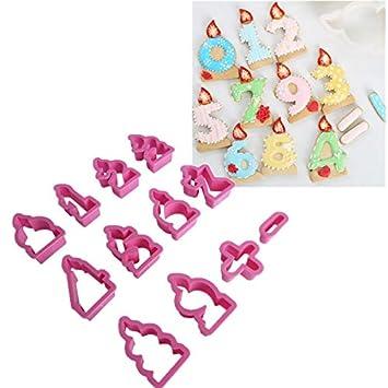 AaaSue - Moldes para tartas y galletas, 24 unidades, para decorar el número de cumpleaños, diseño de fondant: Amazon.es: Hogar