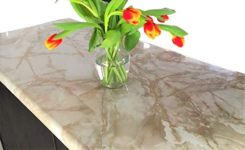 "36""x144"" Marble Contact Paper Creme Brulee White Roll Upgrade Kitchen Countertop Backsplash Cabinet Furniture EZ FAUX DECOR Durable Thick Waterproof Heat Resistant Easy to Remove."