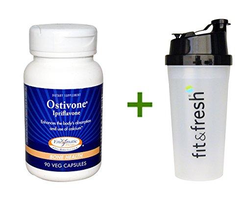 Terapia enzimática Ostivone, ipriflavona, salud ósea, 90 Veggie Caps, Vitaminder, alimentación botella de la coctelera, botella de 20 oz