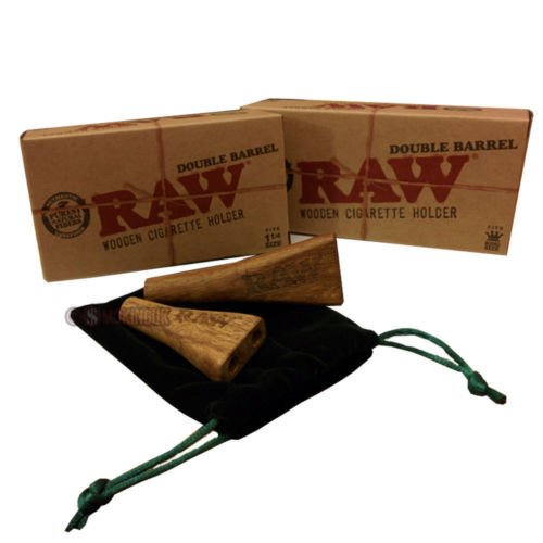 RAW DOUBLE BARREL WOODEN CIGARETTE HOLDER WITH FELT CARRY BAG 2'' PACK OF 1 by RAW