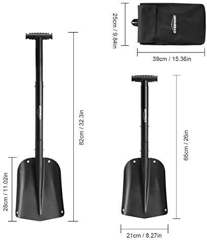 "Overmont 32"" Folding Emergency Snow Shovel 3 Piece Aluminum Lightweight Portable Sport Utility Shovel for Car Trunk Camping Garden Beach with Ice Scraper Carrying Bag"