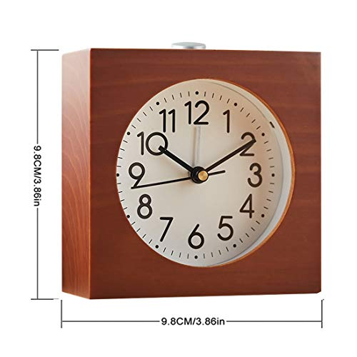 ERGOUZI Creative Square Snooze Sweep Alarm Clock Movement Mute Modern Needle Wooden Table Alarm Clocks Electronic Desk Watch Brown