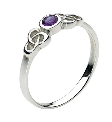Heritage Women's Sterling Silver and Amethyst Celtic Round Ring