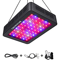 600W LED Grow Light, Growstar Double Chips LED Grow Lamp Full Spectrum for Hydroponic Indoor Plants Flower and Veg with UV IR Daisy Chain (12-Band)