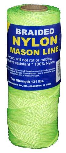 Braided Nylon Chalk Line - T.W . Evans Cordage 12-531 Number-1 Braided Nylon Mason, 250-Feet, Fluorescent Yellow