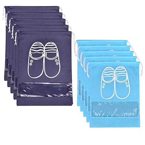 SPIKG 10 Pcs Travel Dust-proof Shoe Bags with Drawstring and Transparent Window Shoe Organizer Space Saving Storage Bags(5pcs XL and 5pcs L) from SPIKG