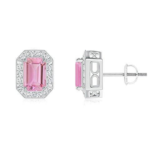 Tourmaline 6x4mm Emerald - Emerald-Cut Pink Tourmaline and Diamond Halo Stud Earrings in Platinum (6x4mm Pink Tourmaline)
