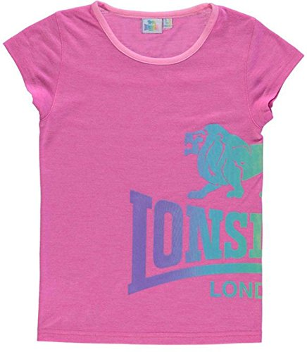 Junior Girls Lonsdale Lightweight Casual LL Crew T Shirt Top (9-10 Years, - Lonsdale Kids