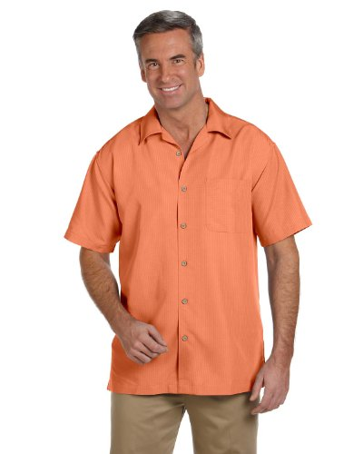 Harriton M560 Mens Barbados Textured Camp Shirt-Nectarine-Large (Shirt Rayon Camp)