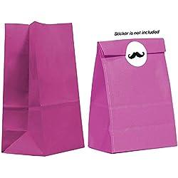 Gift Expressions 20CT Paper Bag, Favor Sack,Biodegradable, Food Safe Ink & Paper, Premium Quality Paper (Thicker), Favor Sack, Kraft Paper Sack (Medium, Magenta)