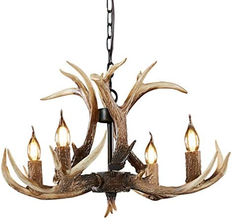 HUITICO Antler Chandelier 4 Lights,Resin Deer Chandeliers Vintage Style Pendant Light
