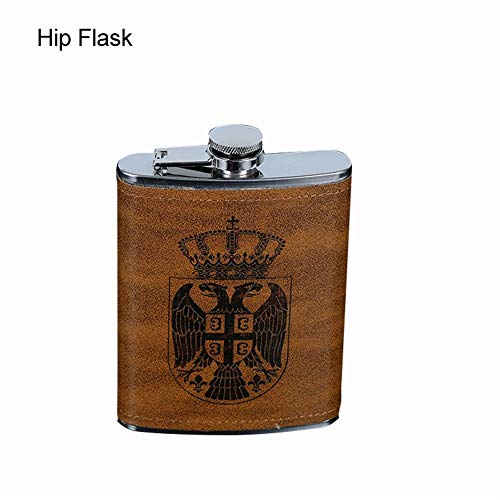 (8oz Brown stainless steel hip flask, Cherry-Lee Proof portable bottle Stainless Steel Pocket Container for Drinking Liquor suitable For Whiskey, Rum, Scotch,)