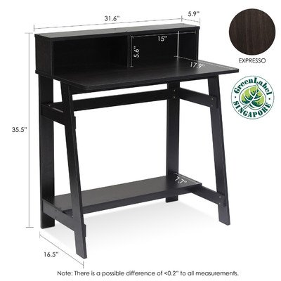 Annie Computer Desk with Built-in Hutch Black